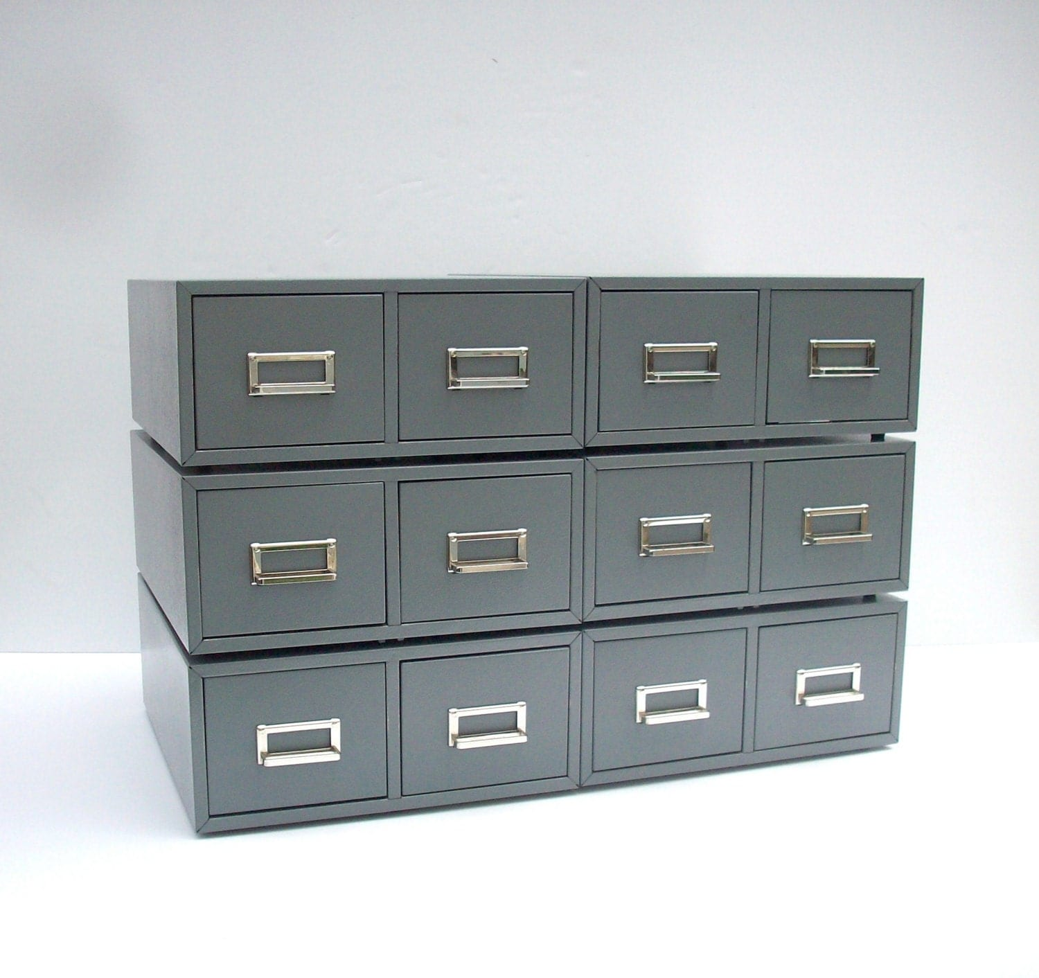 Metal Index Card File Cabinet