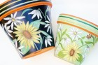 "Hand Painted Flower Pot, ""Sunflowers"" 8 Inch Terracotta-Made to Order"