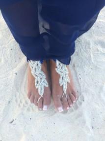 Bridal Swarovski Crystal Barefoot Sandalsboho Slave