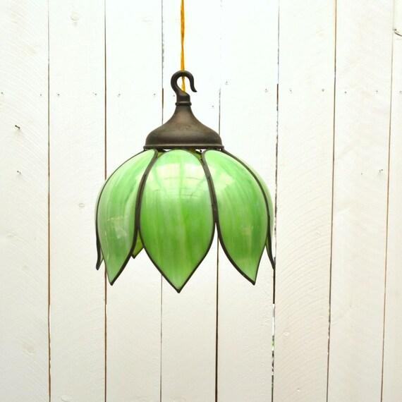 Petal Tulip Hanging Lamp 50s Vintage Green Slag Glass Swag