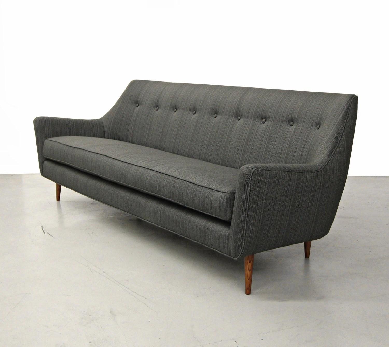 Mid Century Vintage Reupholstered Danish Modern 7ft Sofa Haute Juice