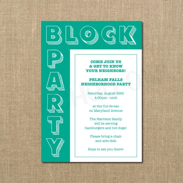Neighborhood Block Party Cookout Invitation Grilling