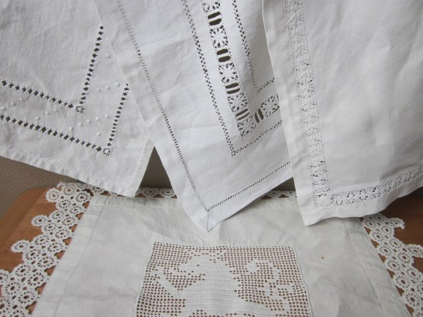 4 antique french linen napkins 1920 Vintage napkin Rustic