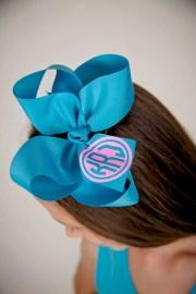 monogrammed hair bow bows