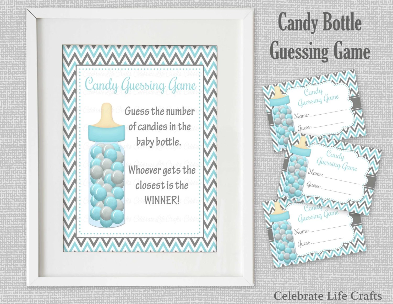 Baby Shower Printable Game Candy Bottle Guessing Game Sign