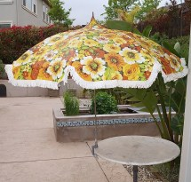 60s 70s Mid Century Patio Umbrella With Fringe Eames Era