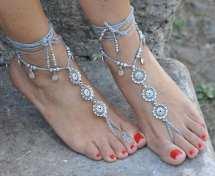 Silver Flower Barefoot Sandals Grey Foot Jewelry Hippie