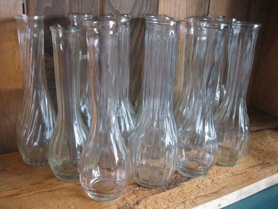 9 Clear Glass Flower Vases-Bud Vases-Wedding Shower