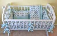 Mist & Gray Chevron Baby Cradle Bedding Set / Includes: Cradle