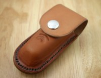 Pocket Knife Holder. Tan Leather pocket knife holder for belt