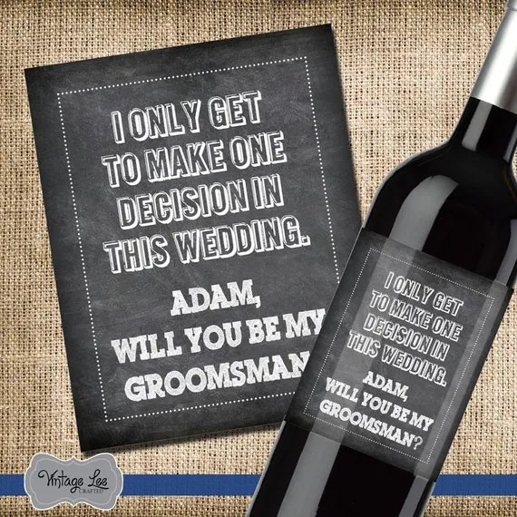 Will you be my groomsman wine label groomsmen wine label