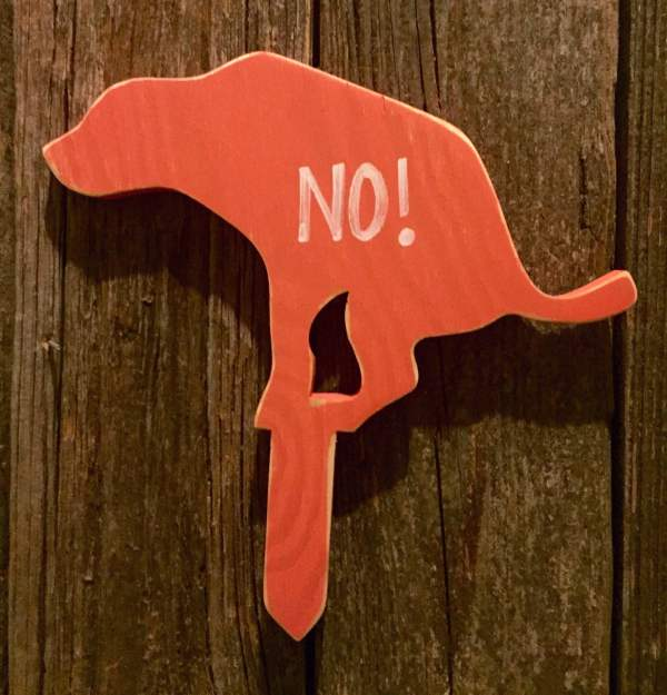 Coral Lab Pooping Dog Yard Staked Wood Sign