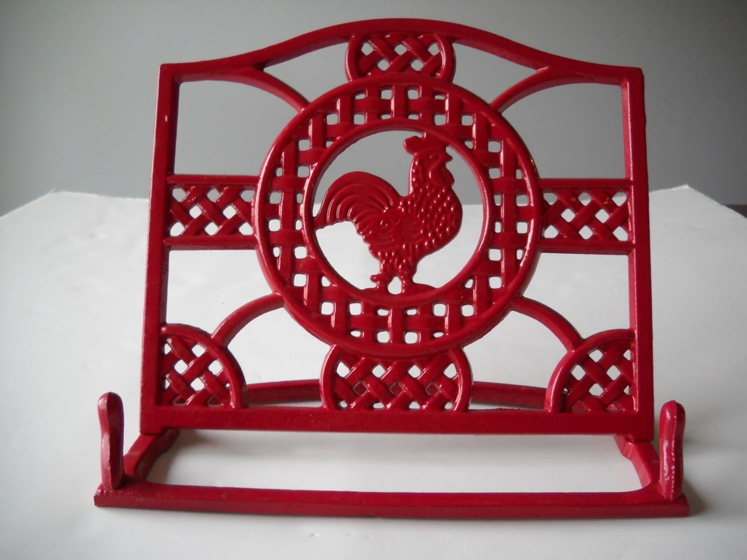 rooster decor kitchen 2 seater table set cast iron cookbook holder / red