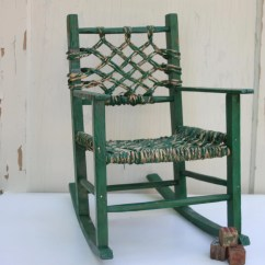 Woven Rocking Chair Dental Saddle Antique Chippy Green Child 39s With Seat