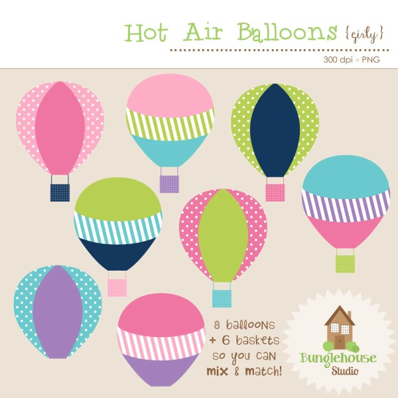 hot air balloons clip art set