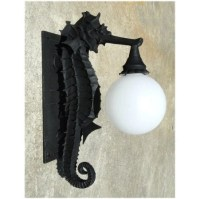 Sea Horse Nautical Outdoor Wall Sconce Light Fixture Great