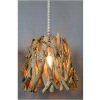 Driftwood Pendant Light Fixture Hand Made Natural Wood & Bead