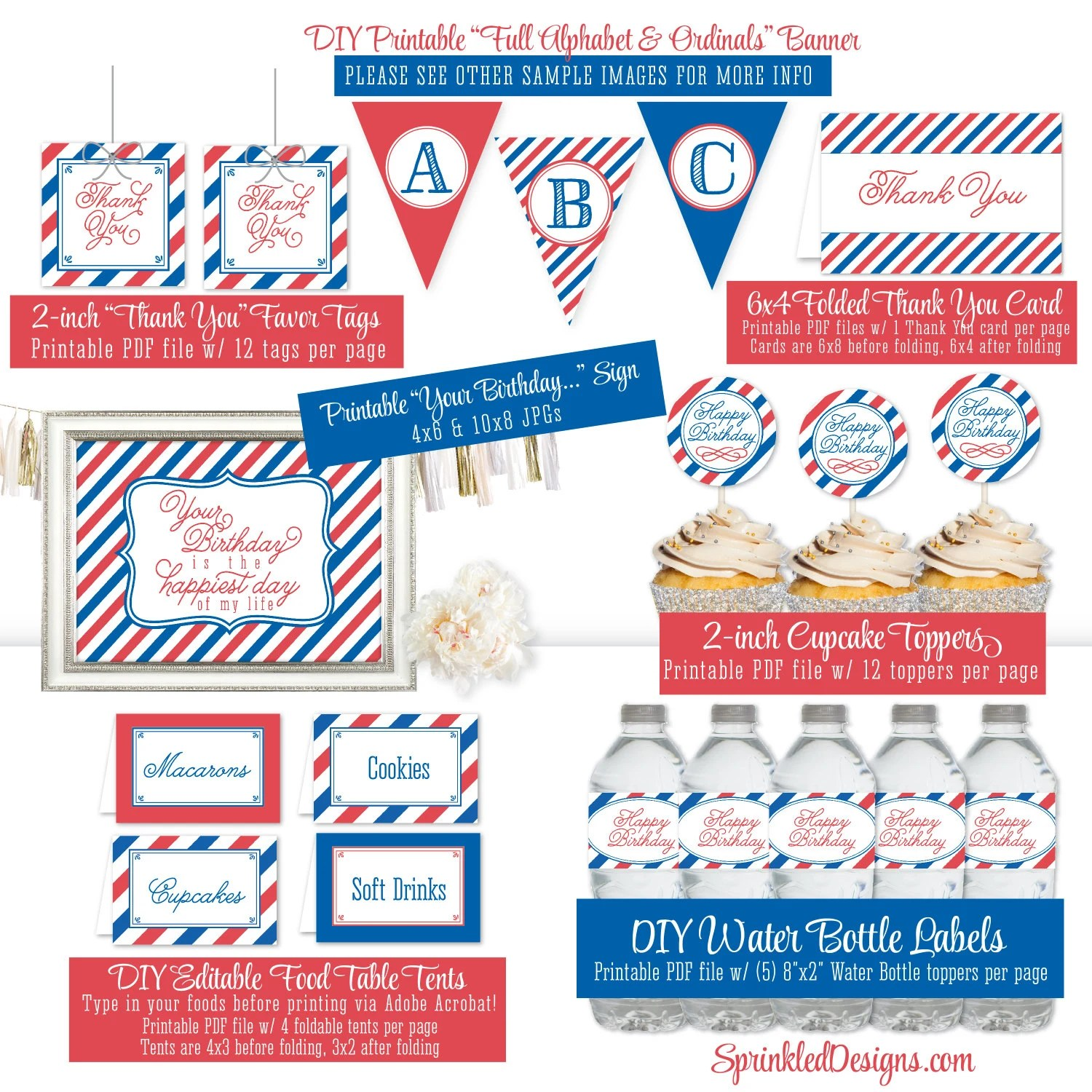 Printable 4th Of July Birthday Party Pack 1st 2nd 3rd 4th 5th