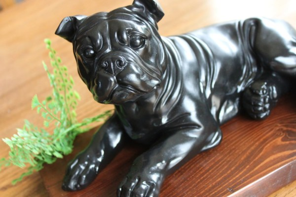 Pit Bull Dog Statue Sculpture Upcycled Figure