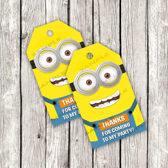 Minion Favor Tags Despicable Me Birthday Party DIY