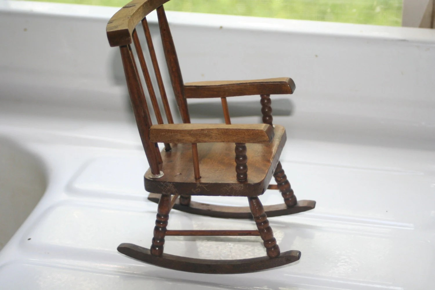 Vintage Wooden Doll Rocking Chair Doll