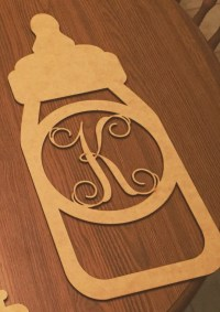 Baby Bottle Monogram Wall & Door Decoration, DIY ...