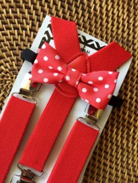 Red Baby Bow Tie Red Toddler Bow Tie Red Toddler Suspenders