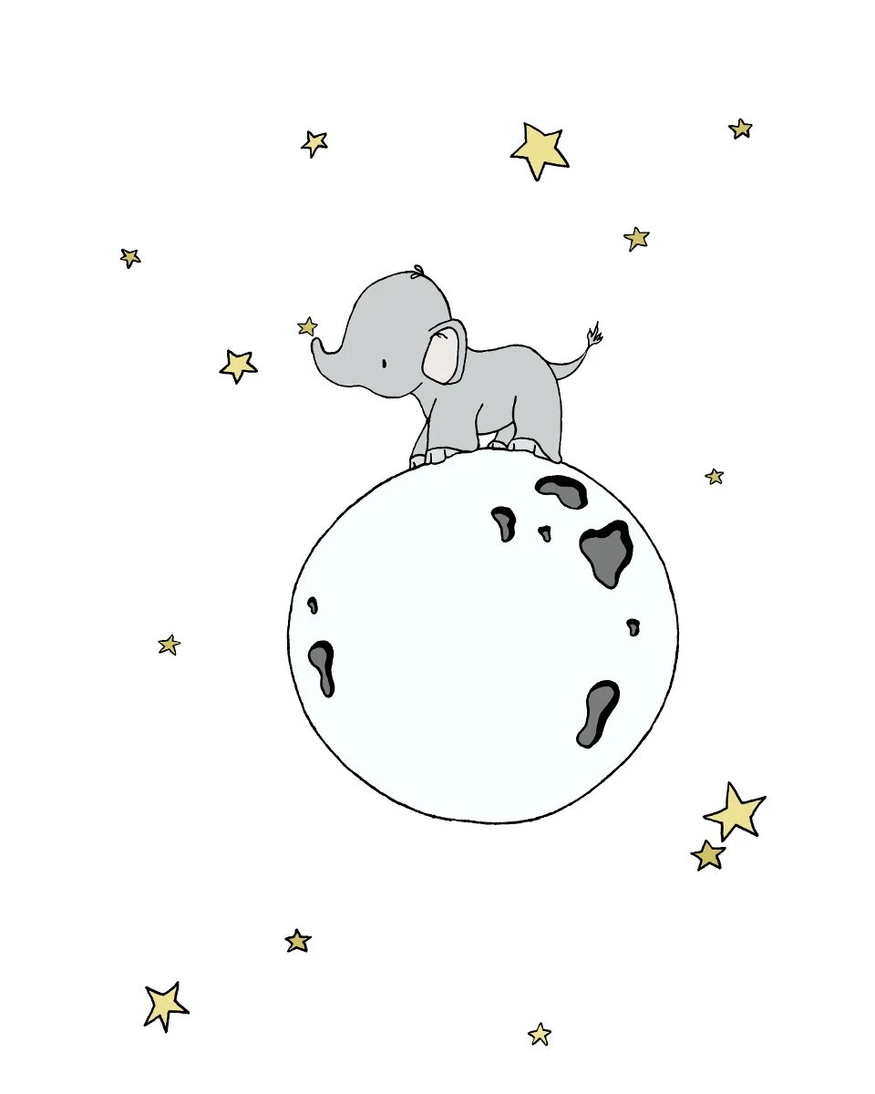 Elephant Nursery Art Print Elephant Moon Walk