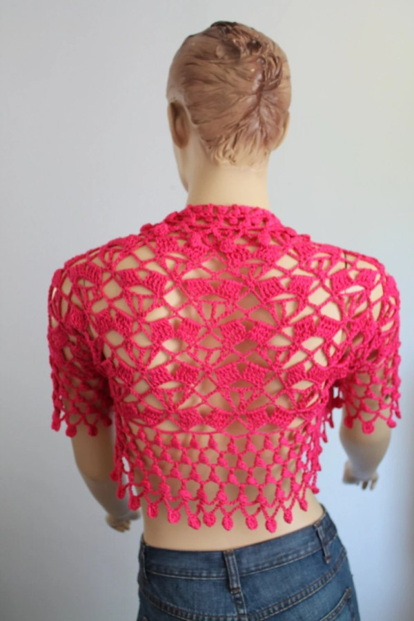 Pink Lace Bolero Jacket Shrug