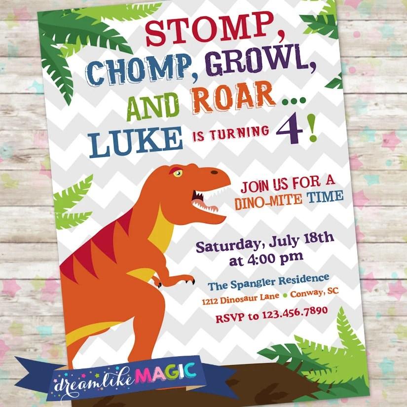Dinosaur Invite Dino Birthday Party Trex