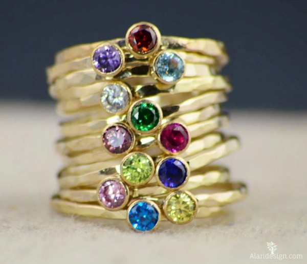 Dainty Gold Mothers Ring 14k Filled