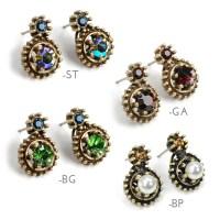 Small Earrings Pearl Earrings Double Stone Earrings Post