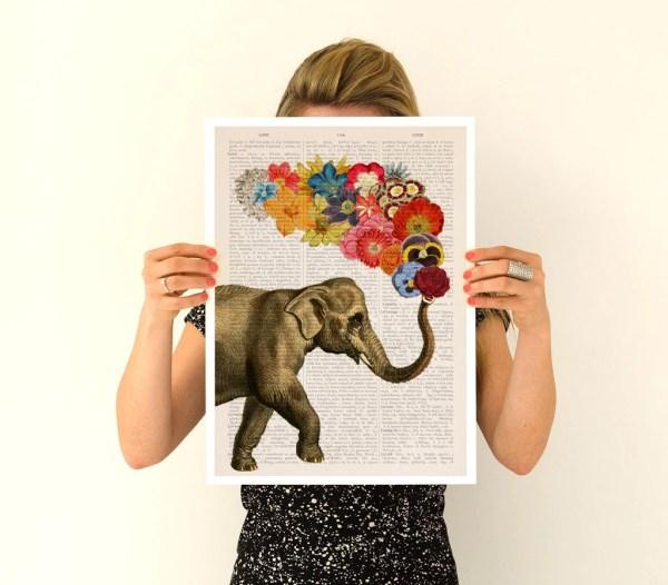 Elephant Flower Art Spring Celebration Nursery