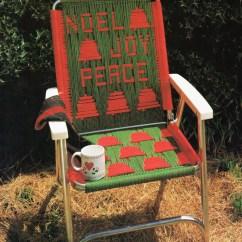 Macrame Lawn Chair Lounge Cover Vintage Folding Pattern 1970s