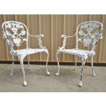 Pair Vintage Woodard Victorian French Style Cast Aluminum