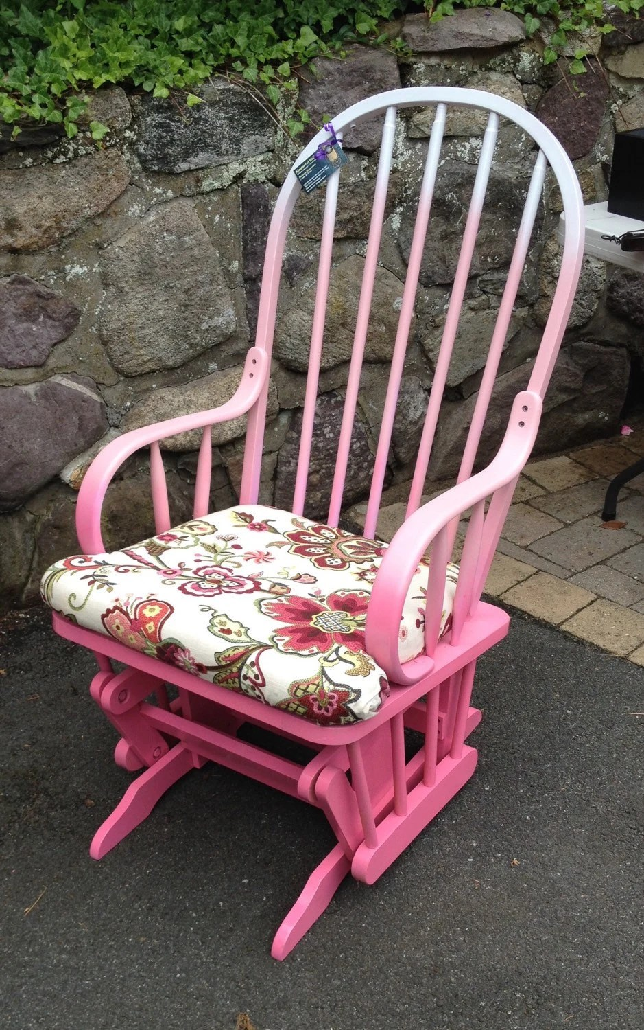 Pink Ombre Glider Rocking Chair