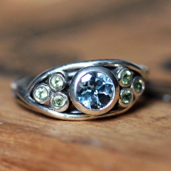 Multi stone nest ring unique gemstone ring bezel gemstone