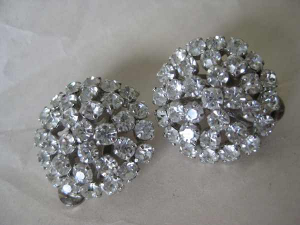 Clear Silver Cluster Rhinestone Earrings Clip Vintage Austria