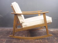 Mid Century Rocking Chair w/ White Vinyl Covers Made in
