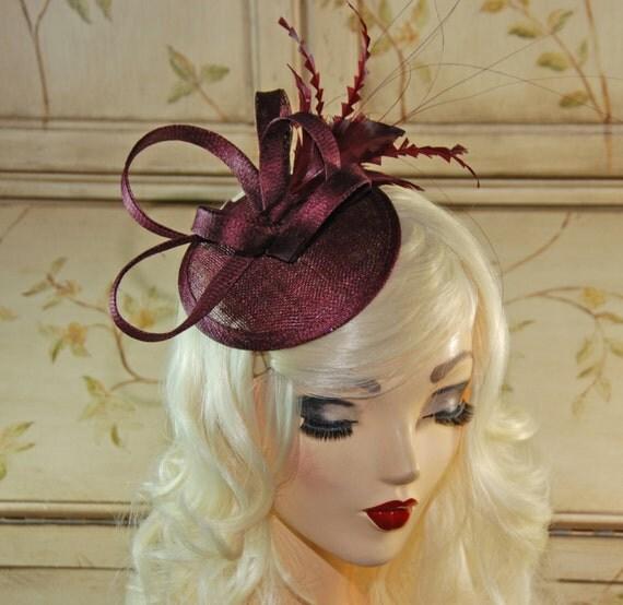 Wine Fascinator Maroon Mini Fascinator Hat Burgundy Tea