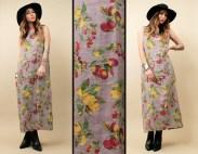 90s Vtg Linen Maxi Dress Lemons Peaches Summer