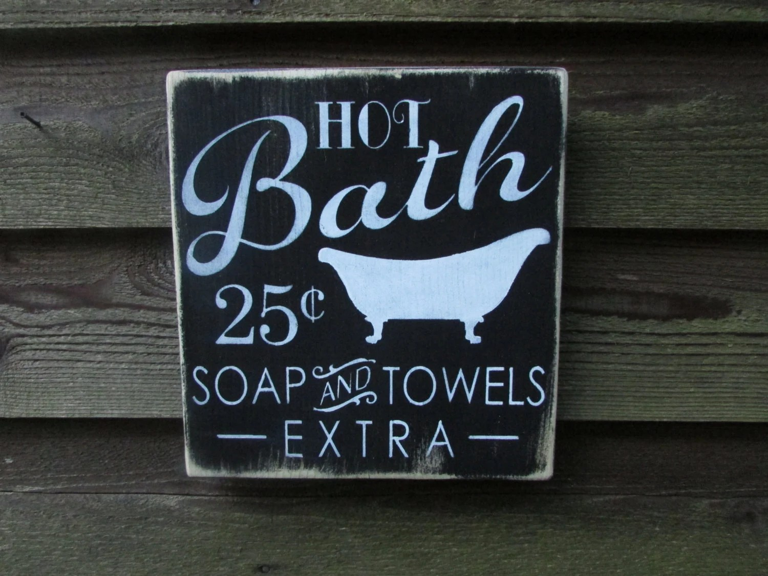 Bathroom sign bathroom decor primitive country decor
