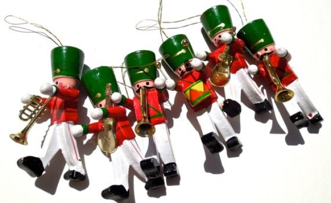 Vintage 6 Toy Soldier Wood Ornaments Hand Painted Ornaments