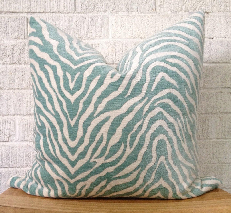 Zebra Print Pillow Cover Aqua Teal animal print pillow