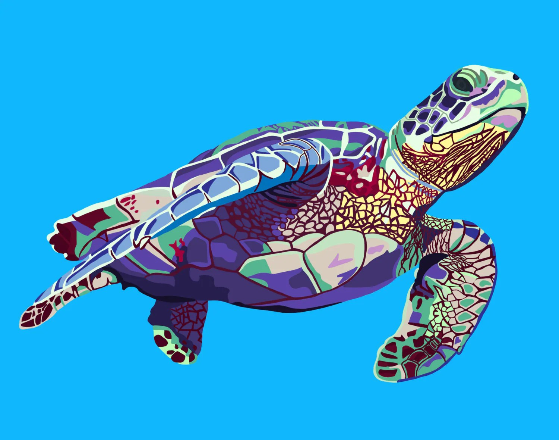 Sea Turtle Wall Art Digital Print Art 11x14 Or 8x10 Or 4x6
