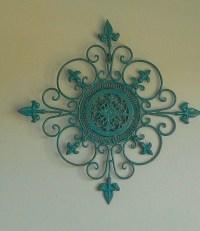 Shabby Chic Metal Wall Art Teal Aqua Brown Scroll Decor Iron