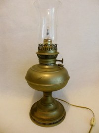1800's Antique Brass and Glass Kerosene Lamp Antique