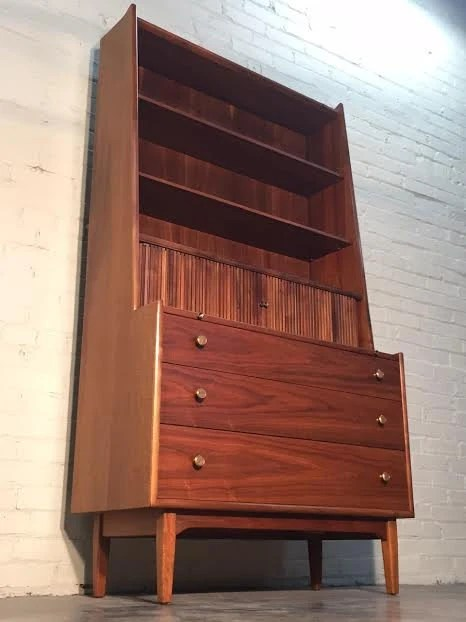 drexel declaration mid century modern secretary desk. Black Bedroom Furniture Sets. Home Design Ideas