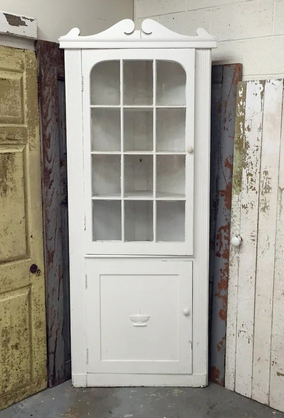 White Corner Cabinet Distressed Painted Furniture Country