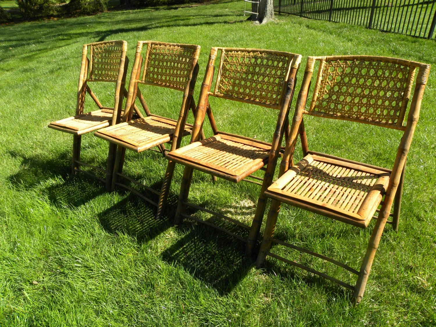 bamboo folding chair ergonomic cover vintage mid century chairs set of 4